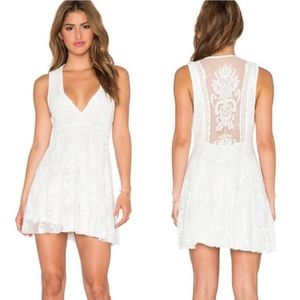 Free People Reign On Me Ivory Lace Mini Dress